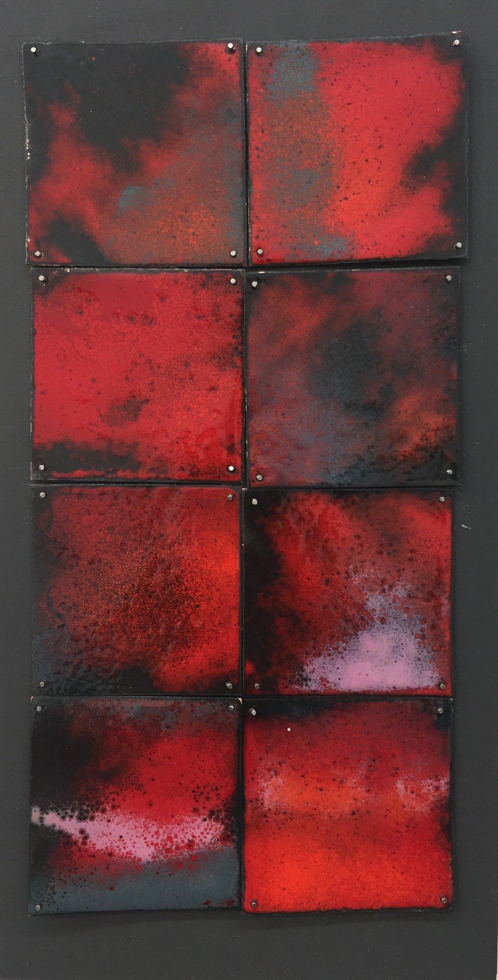 """Red Study   kiln     enamel on copper 6""""x 10"""" 2018"""