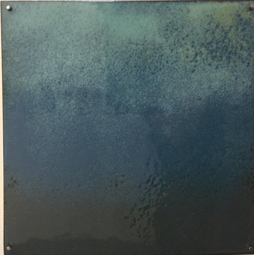 "Blue Horizon Study   kiln     enamel on copper 3""x 3"" 2018"