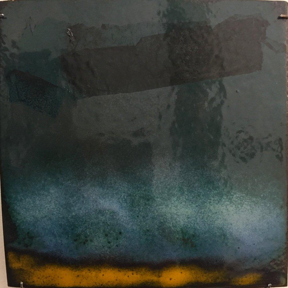 "Horizon Abstract   kiln fired enamel on copper 6""x 6"" 2018"