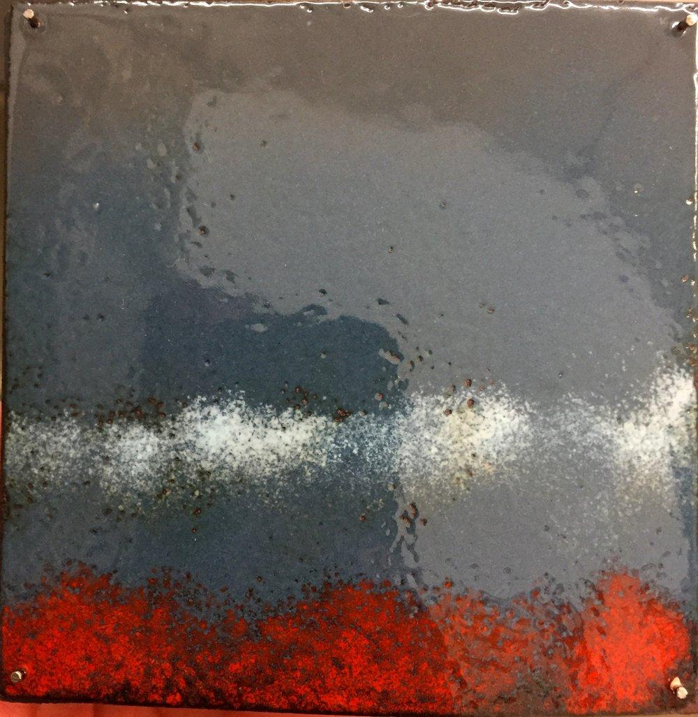 "Horizon Study Low Clouds   kiln fire enamel on copper 3""x 3"" 2018"