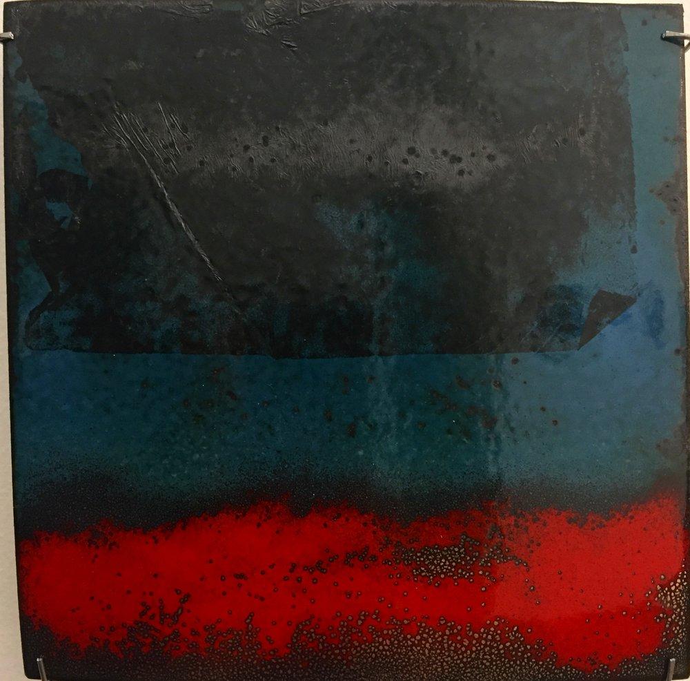 "Horizon Abstract   kiln fired enamel on copper 6'x 6"" 2018"