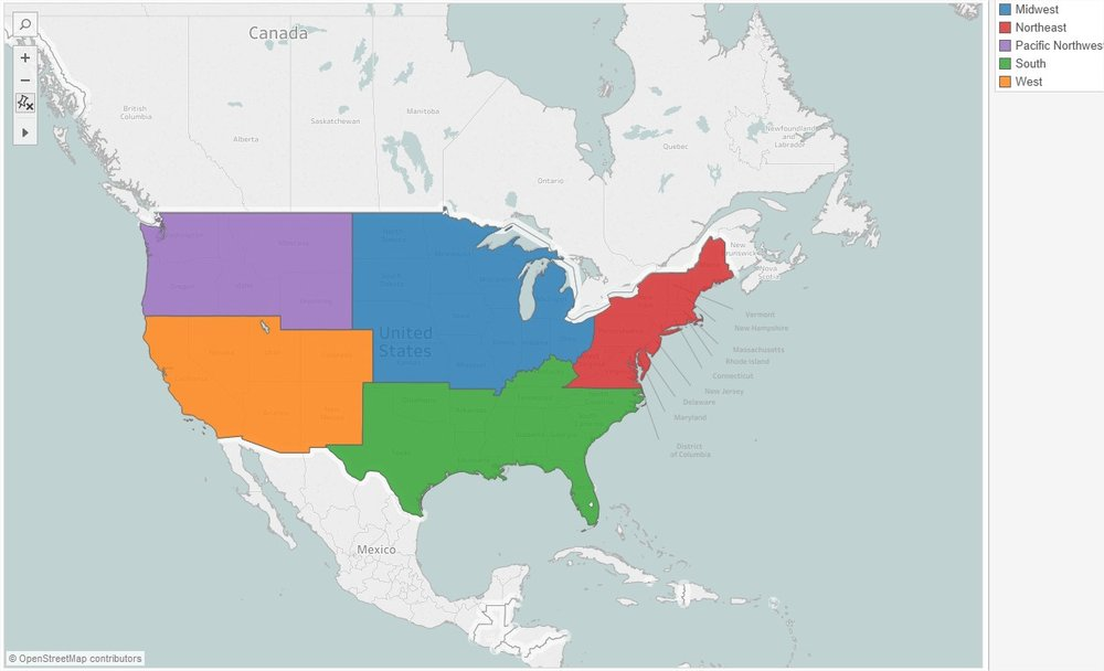 The above photo shows custom made United State regions. This viz shows 5 regions, but another option could specify 4 regions: Northeast, Midwest, South, and West. Some people consider Kentucky as a Midwestern state, some consider it a Southern state - all of these options are customizable in Tableau 10 by using the freeform lasso select tool and creating custom territories.
