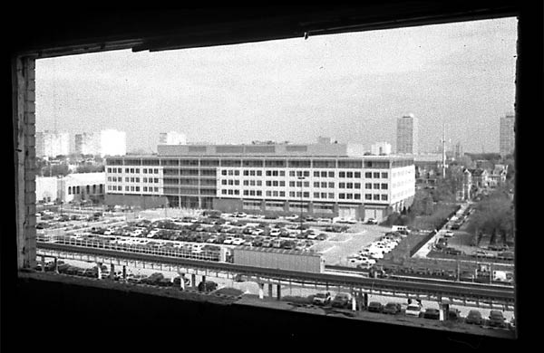 The administrative headquarters of the Chicago Police Department seen from a vacant unit at Stateway Gardens.