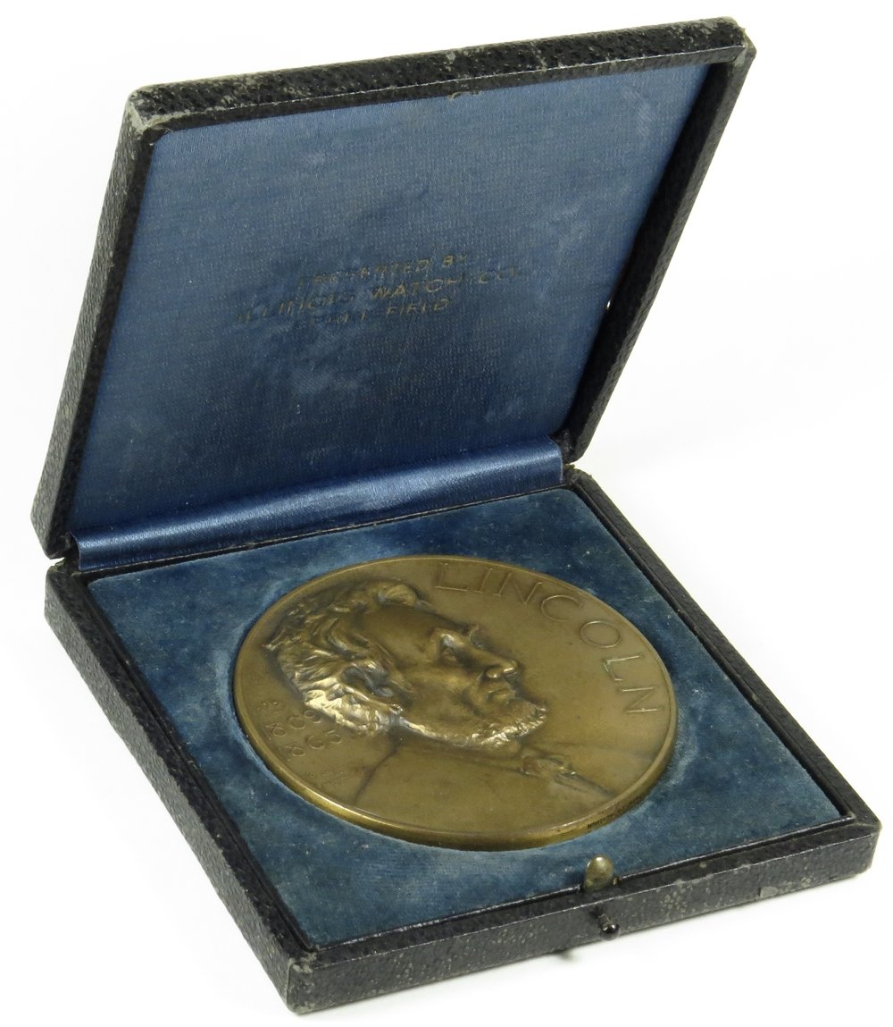 abraham lincoln essay award medal illinois watch company  1927 abraham lincoln essay award medal illinois watch company 3 bronze medals and tokens
