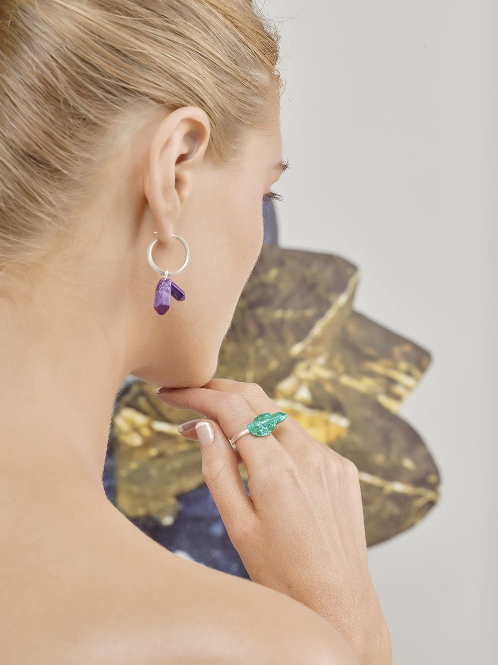 HotRocks Trigonal Small Cluster Ring in Green and Hoop Earring in Purple Low Res.jpg