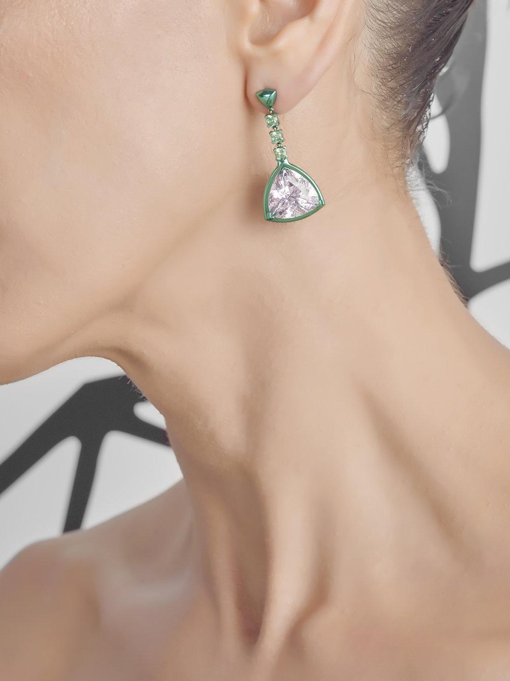 Chromanteq Kunzite Morganite and Demantoid Earrings Kunzite Close Up.jpg