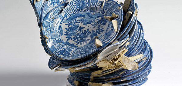 Waster of 34 dishes fused together, Delft, Netherlands, c. 1640-60. © Victoria and Albert Museum, London