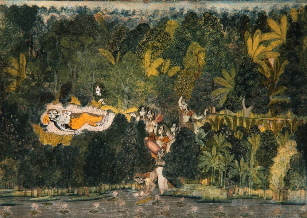 Nihalchand (attr.),  The Bower of Quiet Passion , Kishangarh, ca. 1745–50. Repository: The San Diego Museum of Art, Edwin Binney 3rd Collection, 1990.756