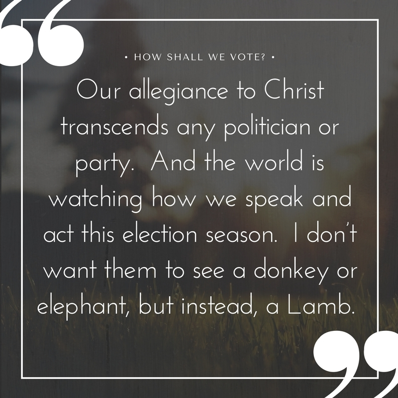 Our allegiance to Christ transcends any politician or party. And the world is watching how we speak and act this election season. I don't want them to see a donkey or elephant, but instead, a Lamb..jpg
