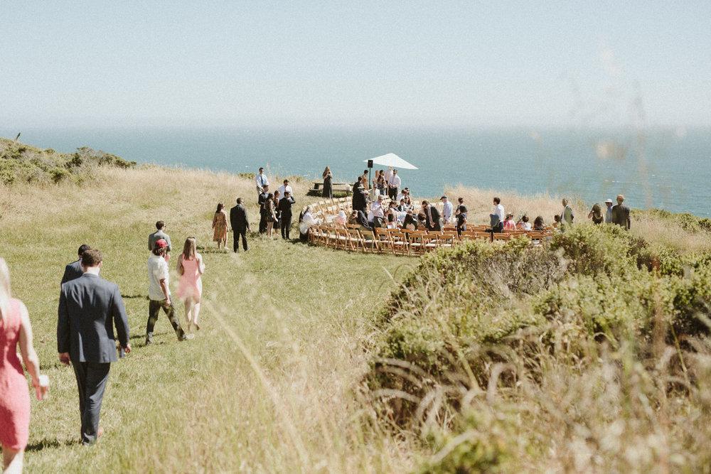 outdoor ocean wedding in california at slide ranch