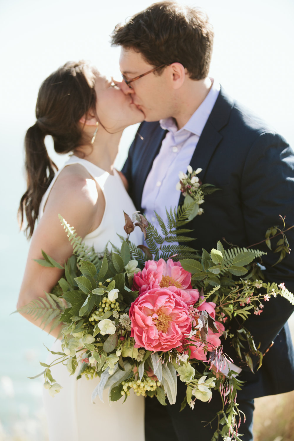 california slide ranch wedding - pink peony bouquet
