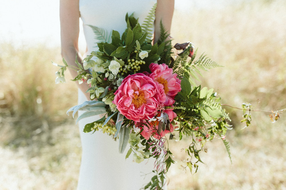 coral charm peony wedding bouquet - california slide ranch wedding kelly brown photographer
