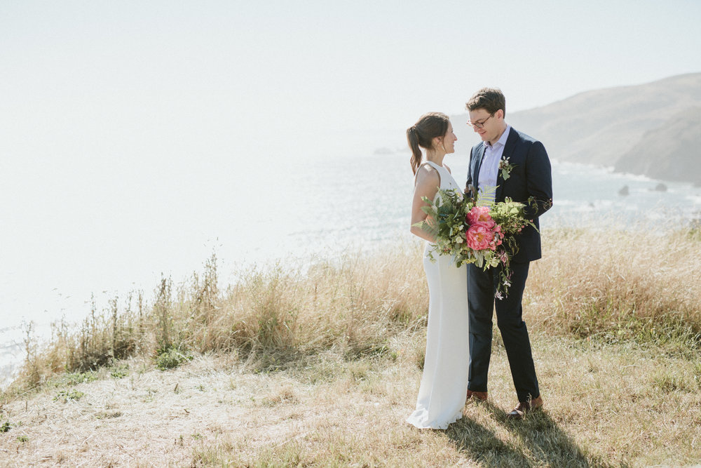 a wedding ceremony overlooking the California coast at Slide Ranch