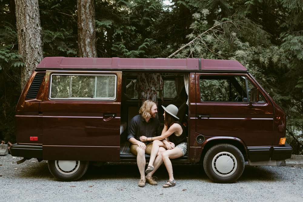 engagement session in a westfalia