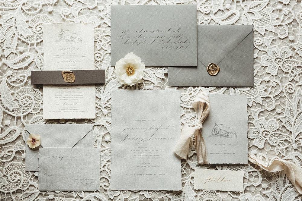 romantic white and grey wedding invitation