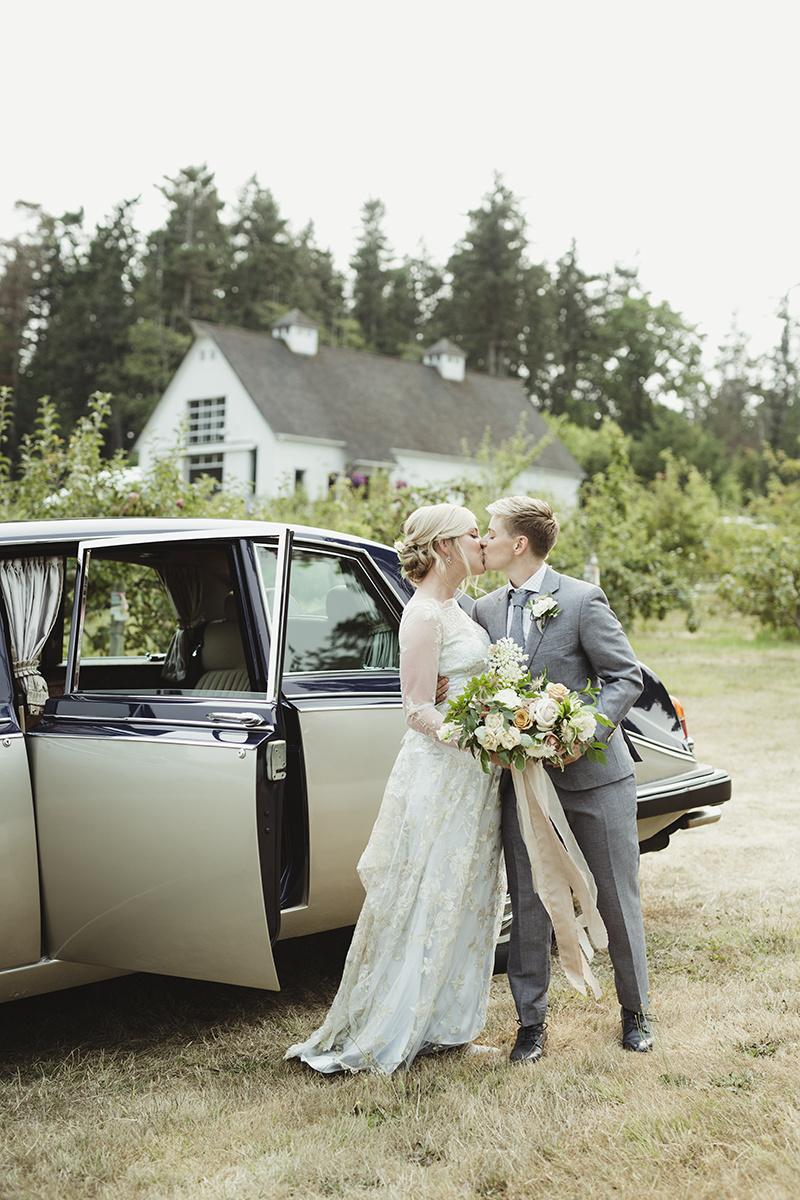 vintage car at a wedding - sea cider victoria bc