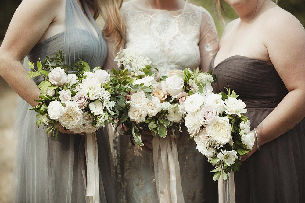 soft blues and browns bridesmaids dresses - Sea Cider Wedding Vancouver Island Wedding Photographer