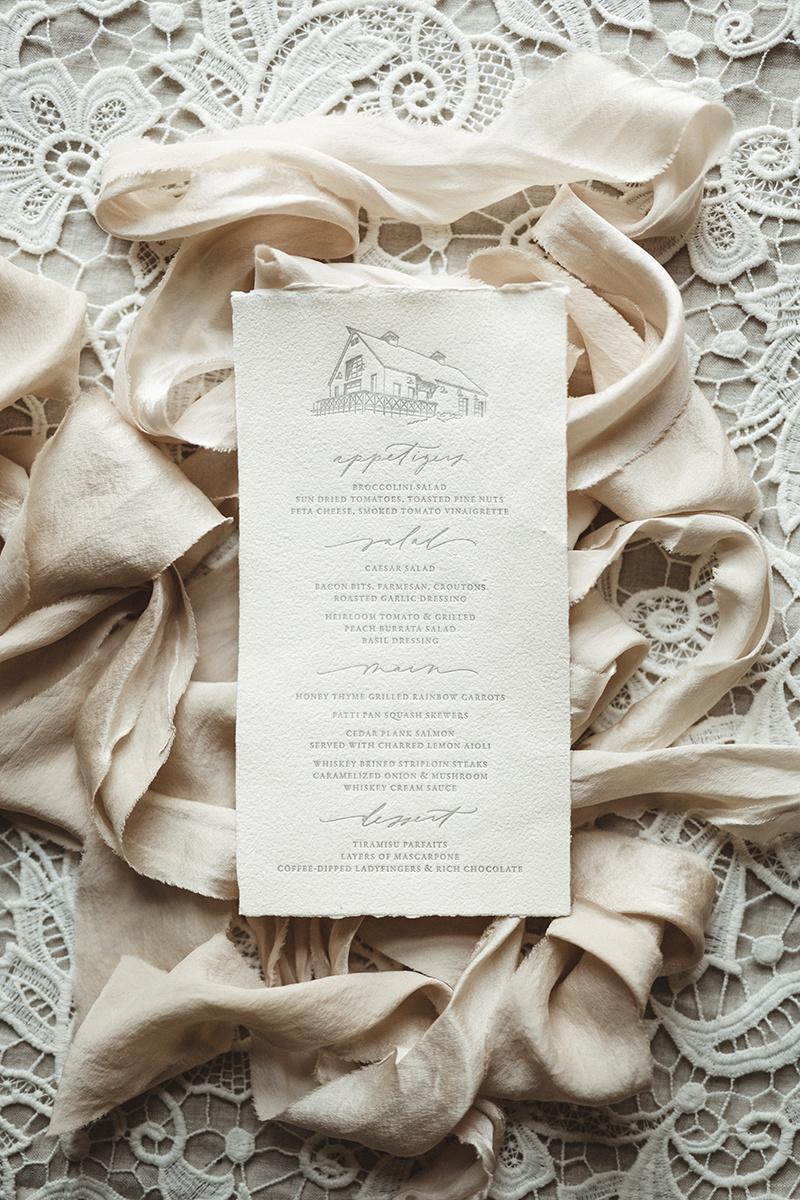 pink silk ribbon wedding invite