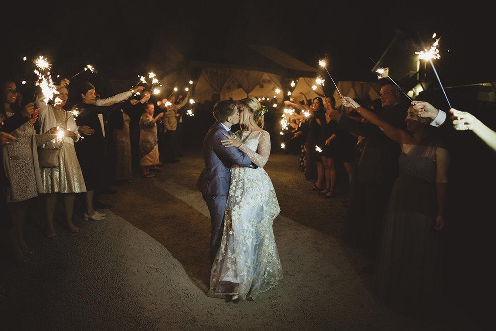 sparkler exit at a wedding sea cider, victoria bc
