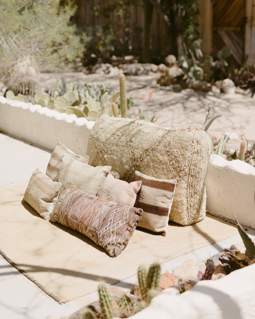 the joshua tree house outdoor desert lounge area