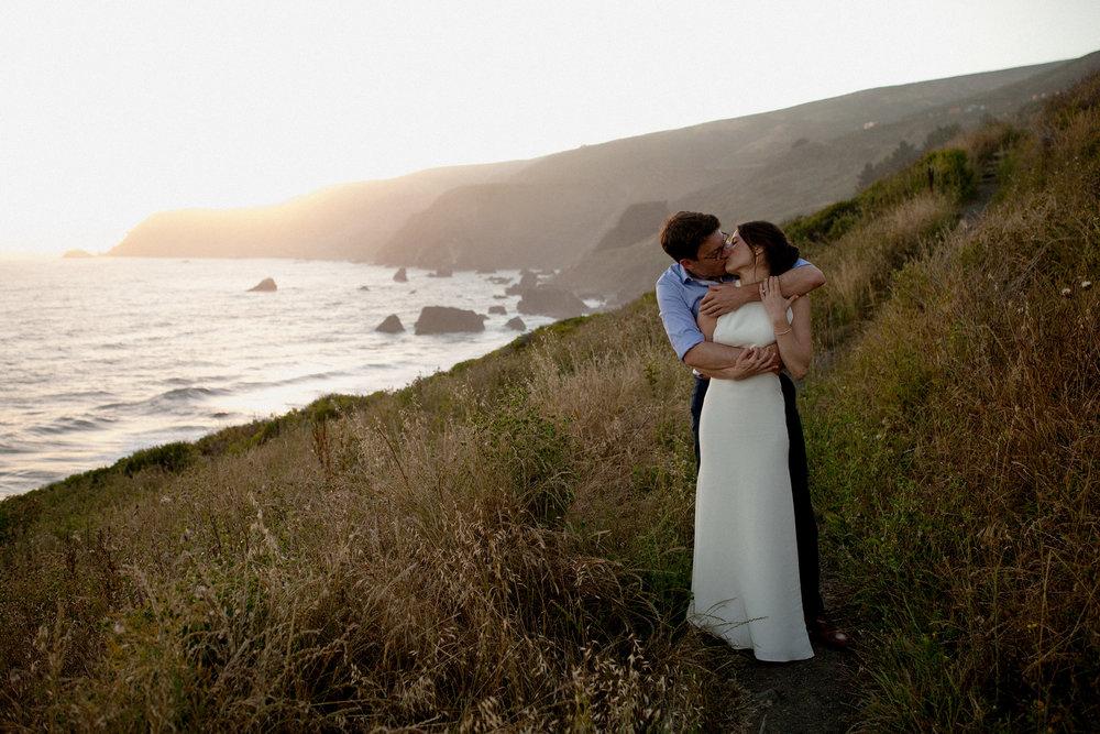 bride and groom at the california coastline, slide ranch wedding