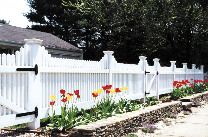 """48"""" bunker hill     Standard spacing and design Snug cottage hinges and ring latch 5"""" x 5"""" Posts Summit pyramid caps   * Stained white"""