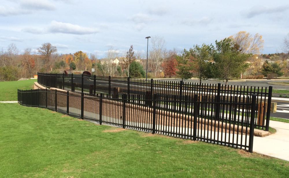 commercial-black-aluminum-4ft-fence-south-windsor-ct-evergreenwalk-shopping-plaza-Atlas-Outdoor-Companies.jpg