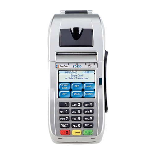 The First Data® FD130 is an affordable terminal solution that combines performance, reliability and ease of use in a compact, feature-rich device. In addition, with new security guidelines coming soon, the FD130 enables you to accept transactions when a customer presents you with an EMV card; that is, a card embedded with a special chip that adds an important layer of security. Installation is simple, with easy-to-follow on-screen prompts. The FD130 terminal accepts PIN-secured and signature debit cards, all major credit cards, contactless payments and gift cards. With the addition of a check reader, it also enables you to accept paper checks, which can be transmitted in electronic form by opting for the TeleCheck Electronic Check Acceptance® (ECA®) service.