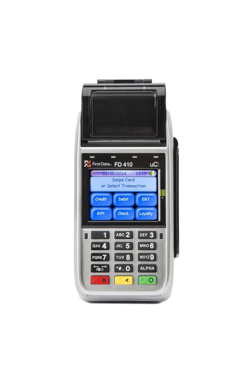 "The First Data® FD410 wireless terminal is a hand-held point-of-sale device that you can use remotely to provide a full range of payment options. You'll have access to wireless downloads wherever your business takes you. This terminal enables you to receive the full range of solutions for payment processing, including credit, debit, gift cards, personal paper checks and EBT, all from a single provider. Plus, with the ""store-and-forward"" capability, you can ensure card-present rates when there is no signal at the time of the transaction. The FD410 terminal is light and ergonomically shaped for true mobility and flexibility. It uses 3G technology to connect wirelessly over AT&T's GPRS network, which means you'll get the fastest data transmissions and more coverage area for your business. The FD410 terminal also prepares you for acceptance of EMV (also known as chip-and-PIN) transactions."