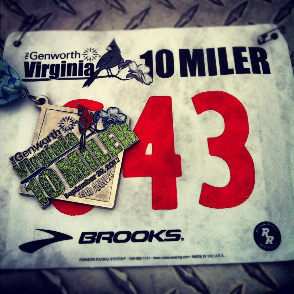 2012 Virginia 10 Miler medal