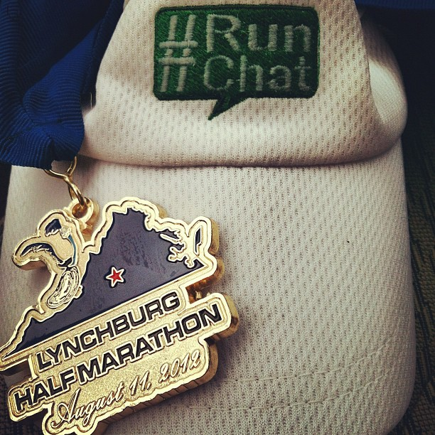 #RunChat visor, Lynchburg Half Marathon medal