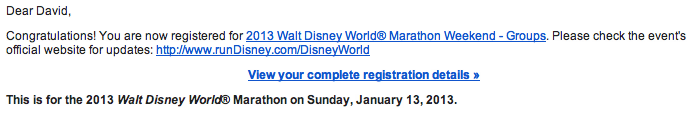2013 Disney Marathon registration
