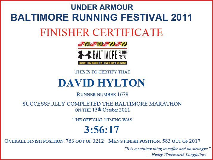 Baltimore Marathon finisher certificate