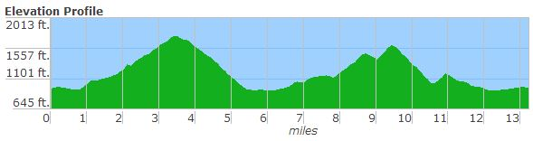 The new Blue Ridge Half course, complete with a second major climb in the final few miles.