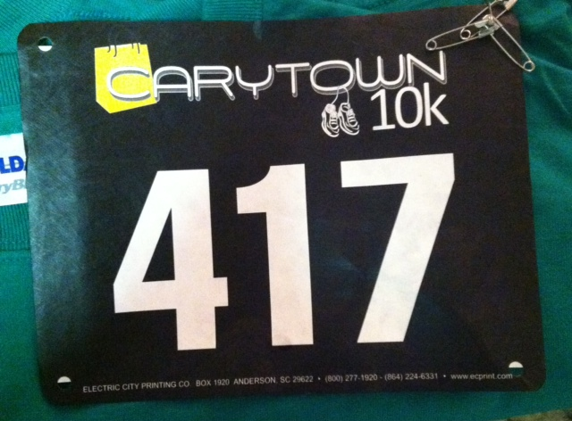 Carytown 10k bib, Richmond, Va.