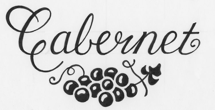 Semi-finished ink lettering with grape art.