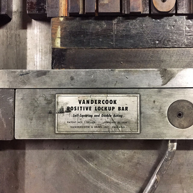 V is for Vandercook.