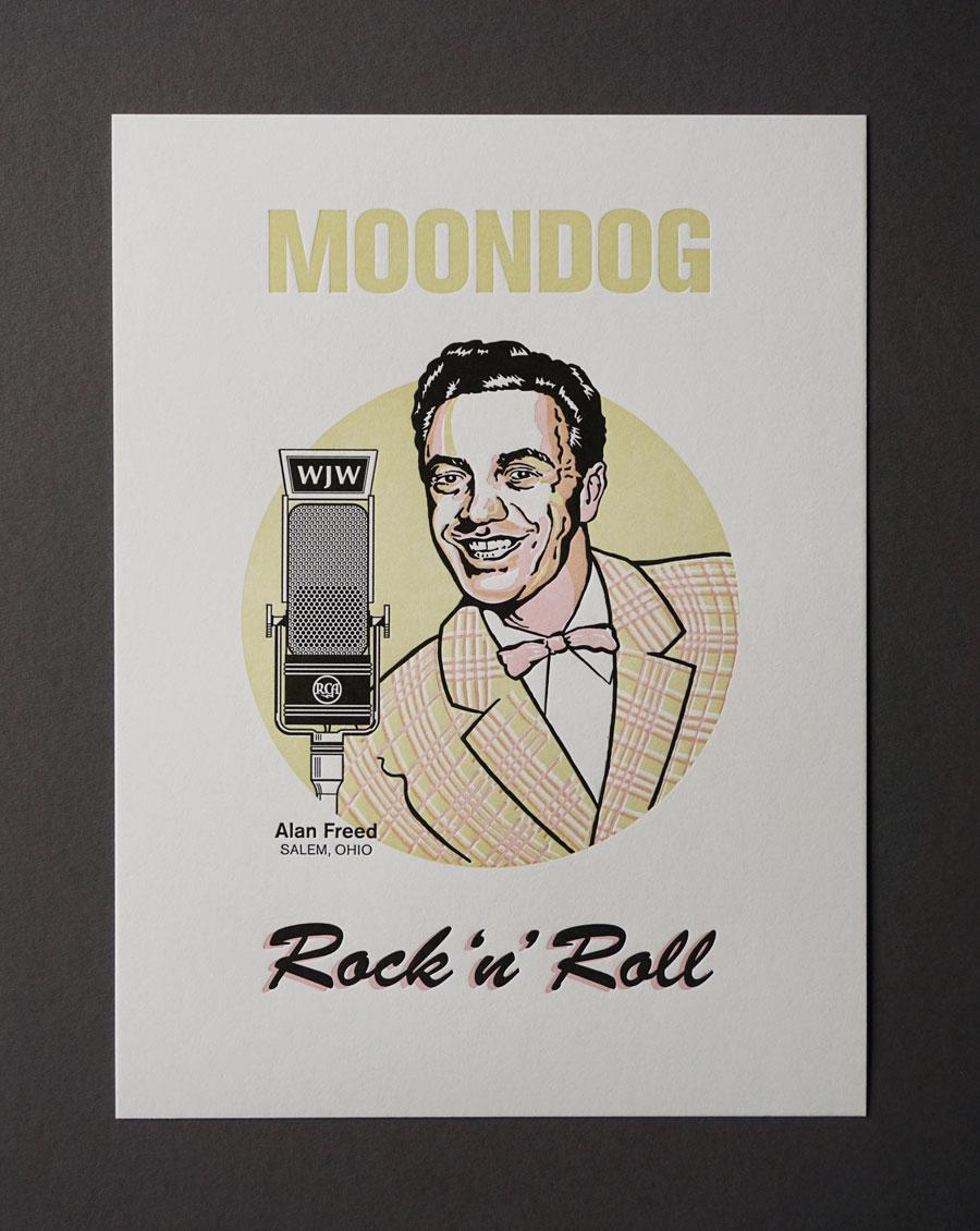 Portrait of DJ Alan Freed, 3-color letterpress print.