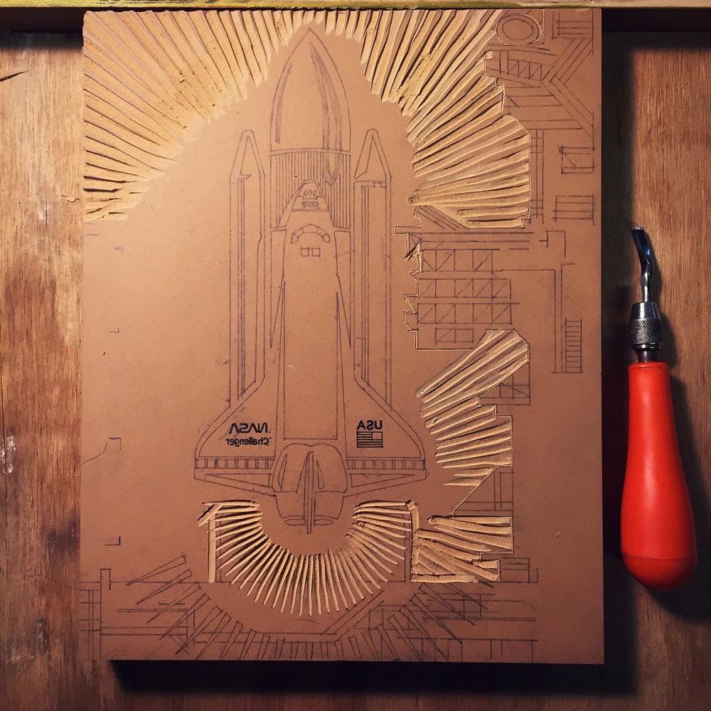 Challenger Linoleum Cutting