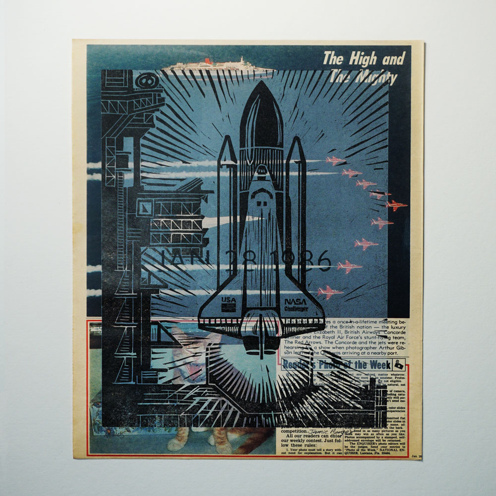 The 'High and Mighty' print from the  News  series of monoprints.