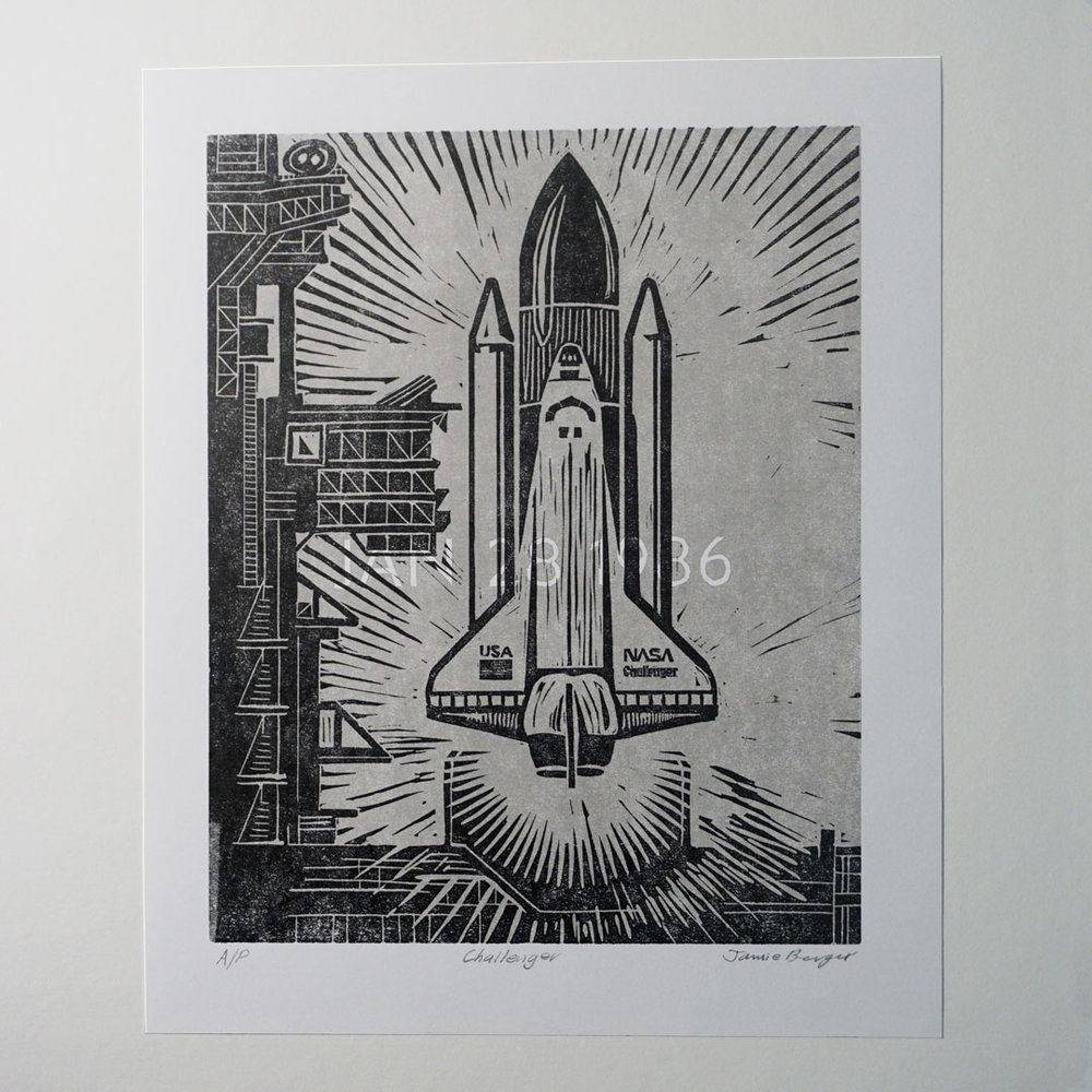 A small edition of Challenger prints were pulled and are available on Etsy.