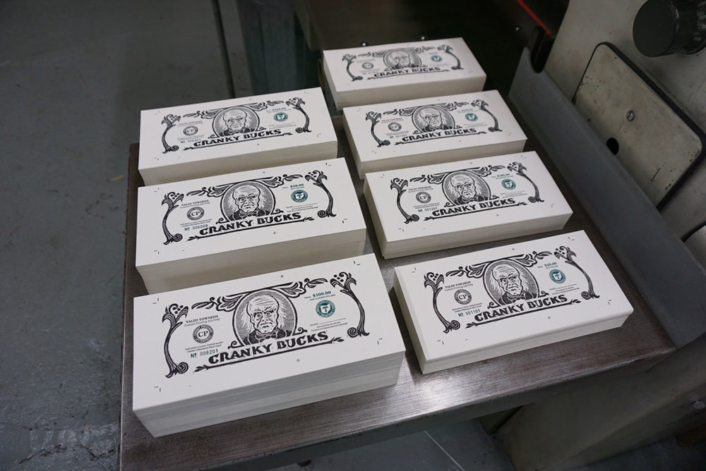 Piles of Cranky Bucks ready to be trimmed and distributed.