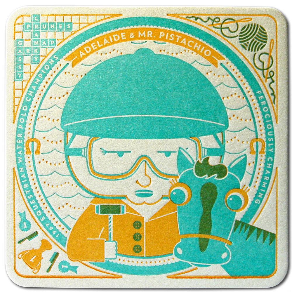 Adelaide & Mr. Pistachio - Coaster Front
