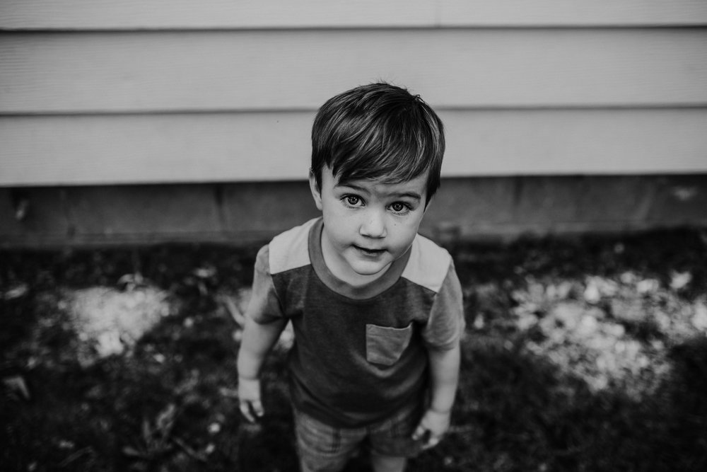 The youngest son portrait in black and white   The Carter Family : Summer in the Backyard | Hannahill Photography | Kansas City, MO | Family photography lifestyle photographer | Wedding photographer Durham North Carolina Raleigh | Birth photographer Documentary