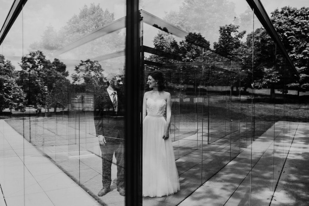 Bride and groom portraits at Nelson Atkins Museum mid town KC | Glass Labyrinth by Robert Morris | Shelbie & Jospeh's Summer Love Story : Kansas City Wedding | Hanna Hill Photography