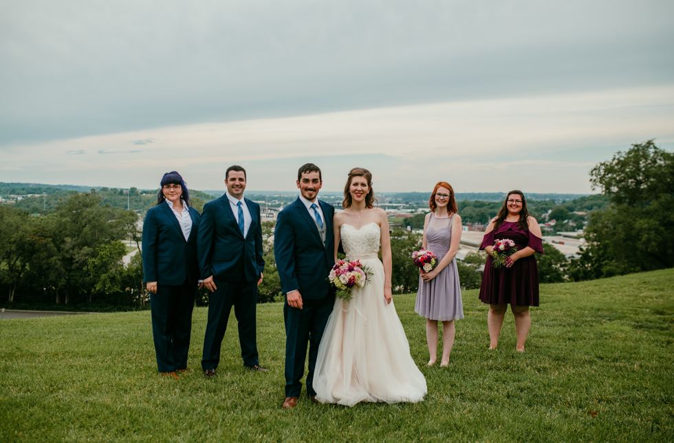 Bridal party photos at Liberty memorial skyline | Shelbie & Jospeh's Summer Love Story : Kansas City Wedding | Hanna Hill Photography