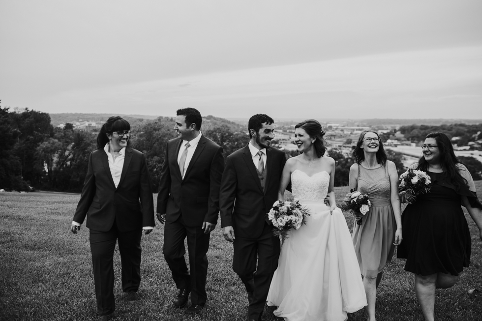 Bridal party at Liberty Memorial skyline in black and white | Shelbie & Jospeh's Summer Love Story : Kansas City Wedding | Hanna Hill Photography