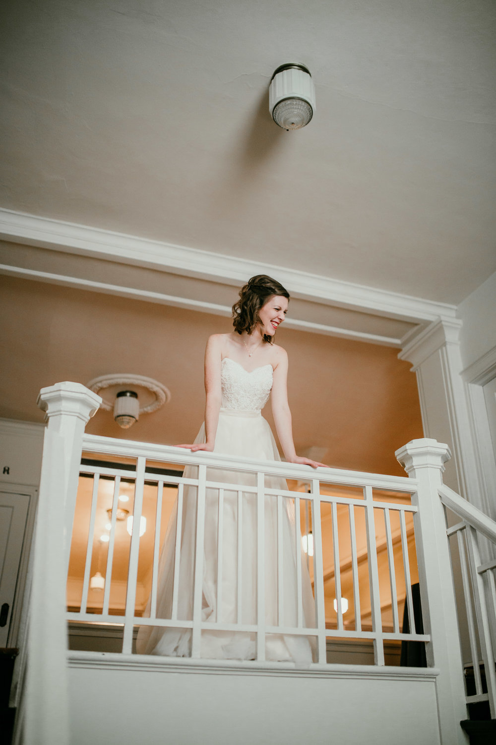 Bridal portrait on the stairwell | Shelbie & Jospeh's Summer Love Story : Kansas City Wedding | Hanna Hill Photography