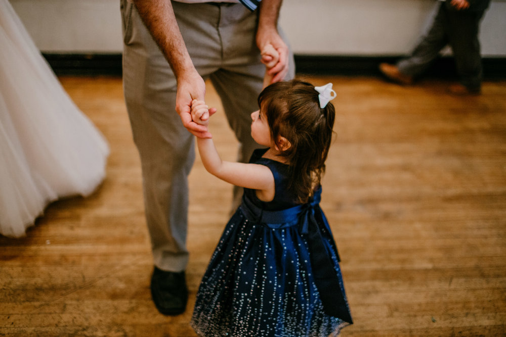 flower girl Dancing at the reception of Shelbie & Jospeh's Summer Love Story : Kansas City Wedding | Hanna Hill Photography