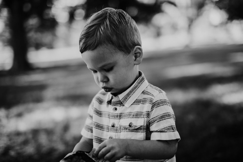 Black and white portrait of little boy at the park | The Hann Family | Hanna Hill Photography | Durham, NC Family photographer